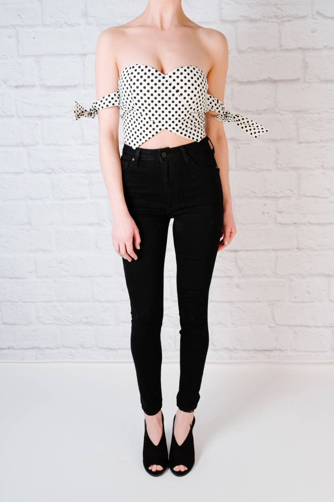 Crop Polka Dot Strapless Crop