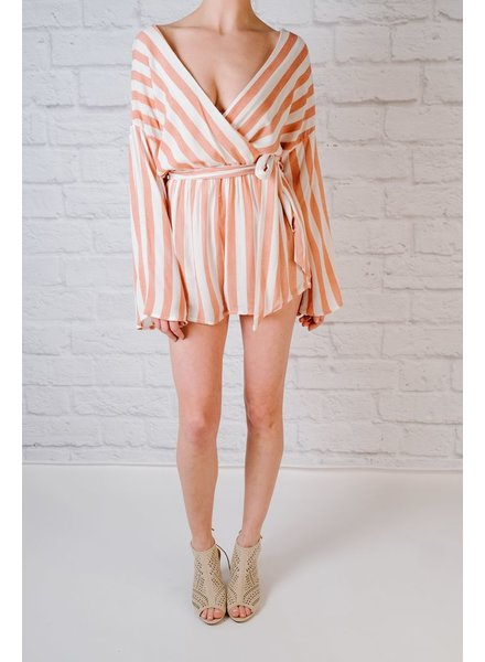 Casual Striped wrap romper