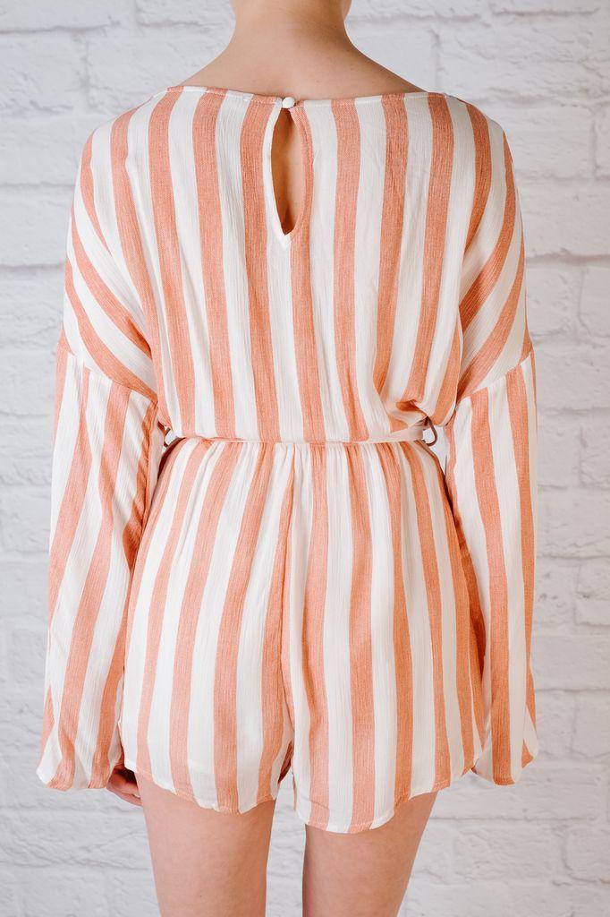 Casual Striped wrap romper