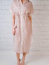 Midi Striped midi shirt dress