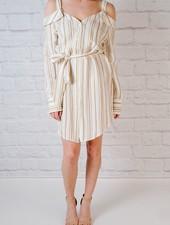Midi Striped cold shoulder shirtdress