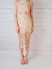 Midi Lace Overlay Midi Dress