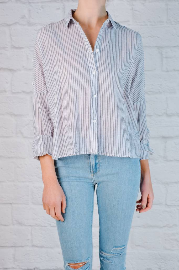 Blouse Striped Button Down Top