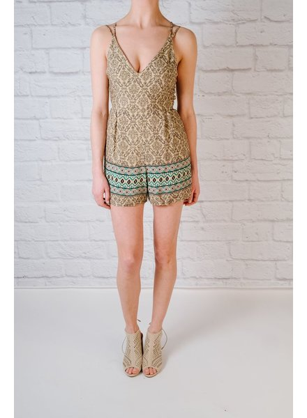 Casual Earthtone string back romper