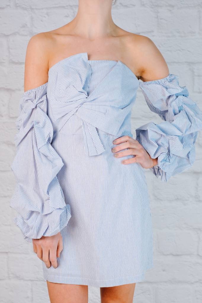 Mini Striped Knot Front Off the Shoulder Dress