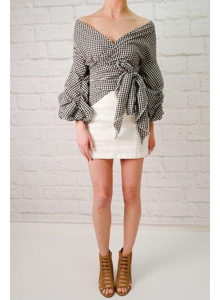 Black gingham wrap style blouse