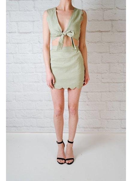 Skirt Sage Scalloped Mini Skirt