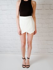Shorts White Denim Skort