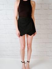 Shorts Black Denim Skort