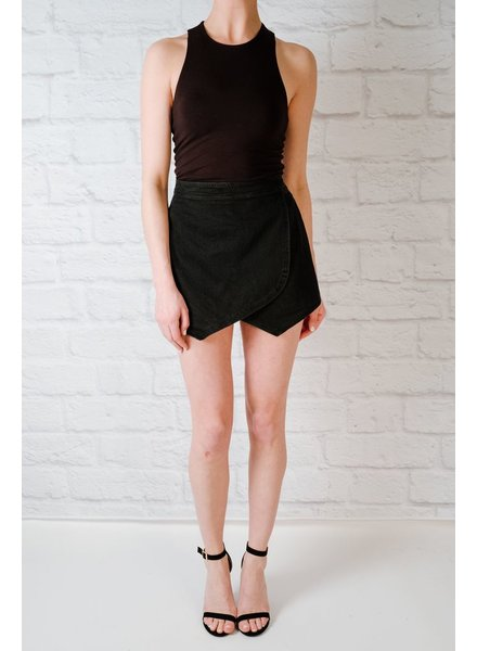 Shorts Black Denim Skort