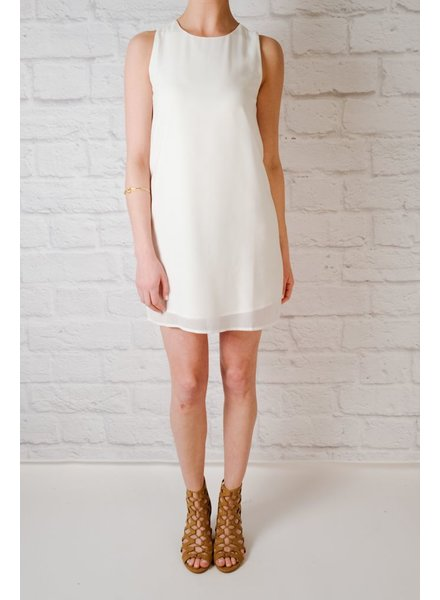 Mini White Boat Neck Shift Dress