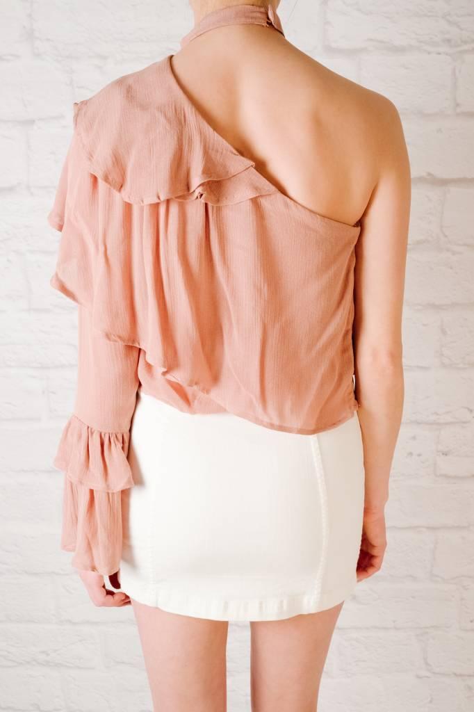 Blouse Mauve choker neck blouse
