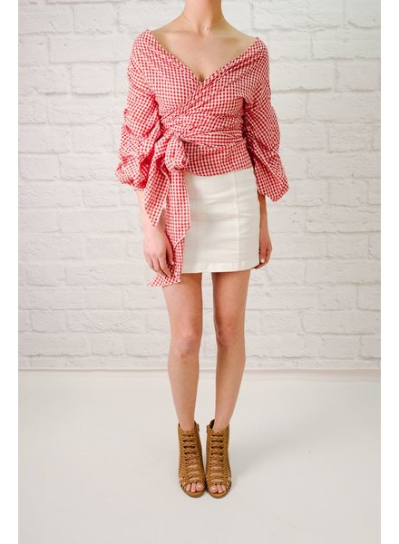 Blouse Red gingham wrap style blouse