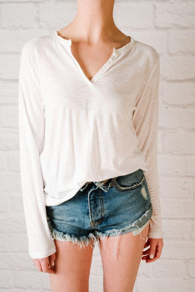 T-shirt Split neck t-shirt