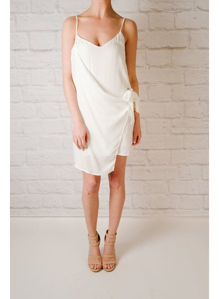 Mini White side knot slipdress