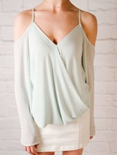 Blouse Cold Shoulder Drapey Front Blouse