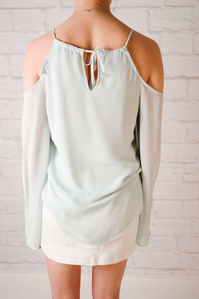 Blouse Cold Shoulder Drapey Front Blouse