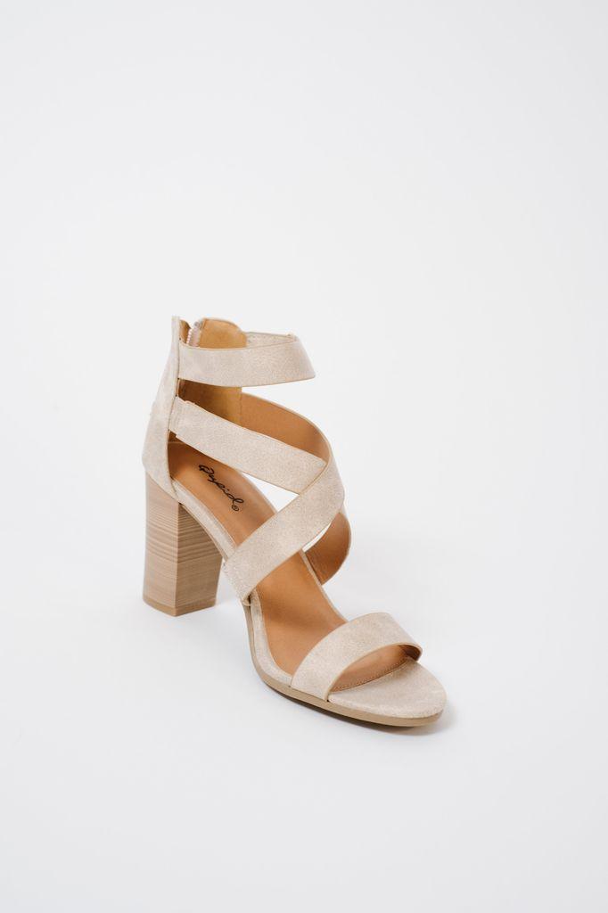 Sandal Bone velcro strap block heel