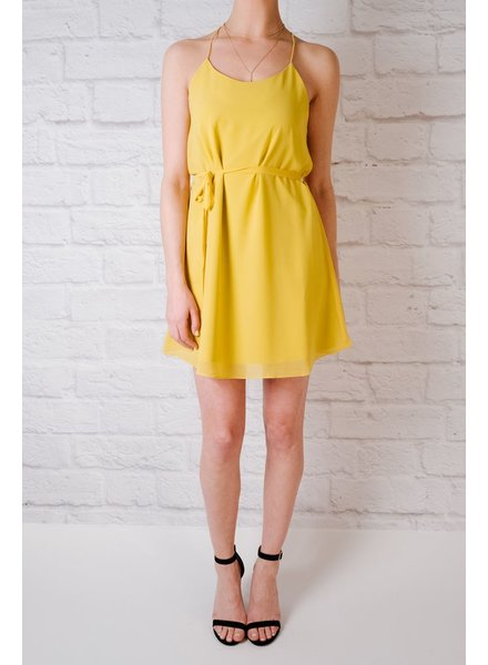 Mini Yellow string strap dress