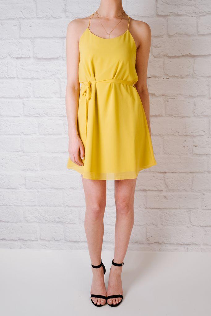 Mini Yellow string strap dress