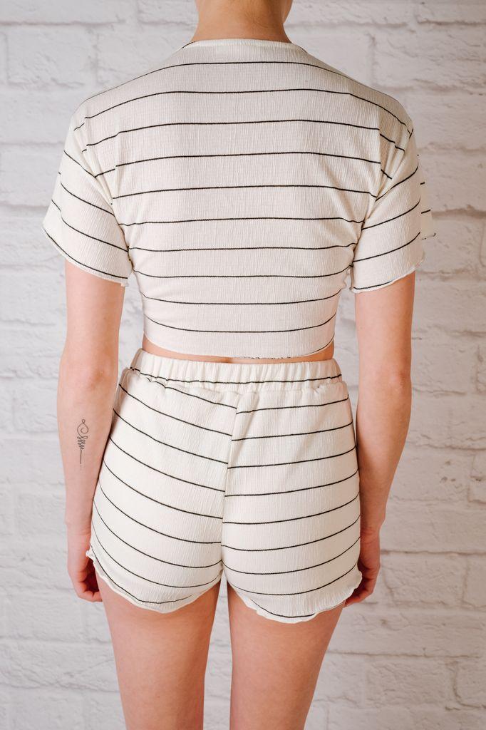 Crop Striped Tie Front Crop