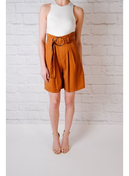 Short Copper Belted Bermuda Shorts