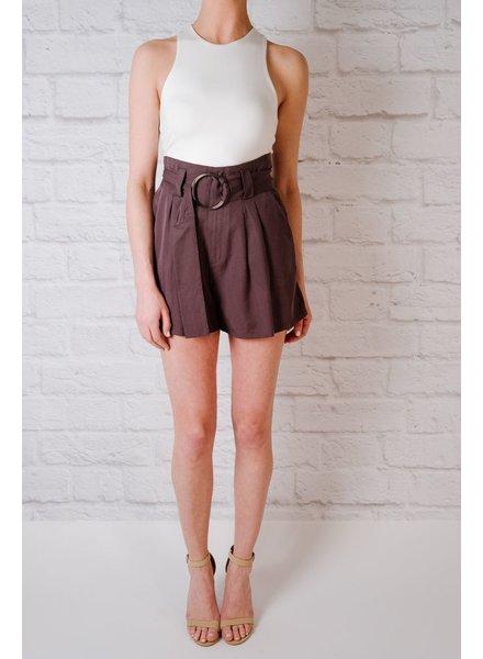 Short Charcoal Belted Short
