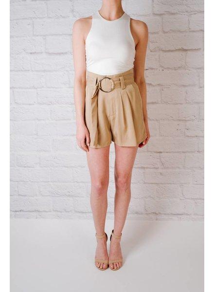 Short Kkaki Belted Short