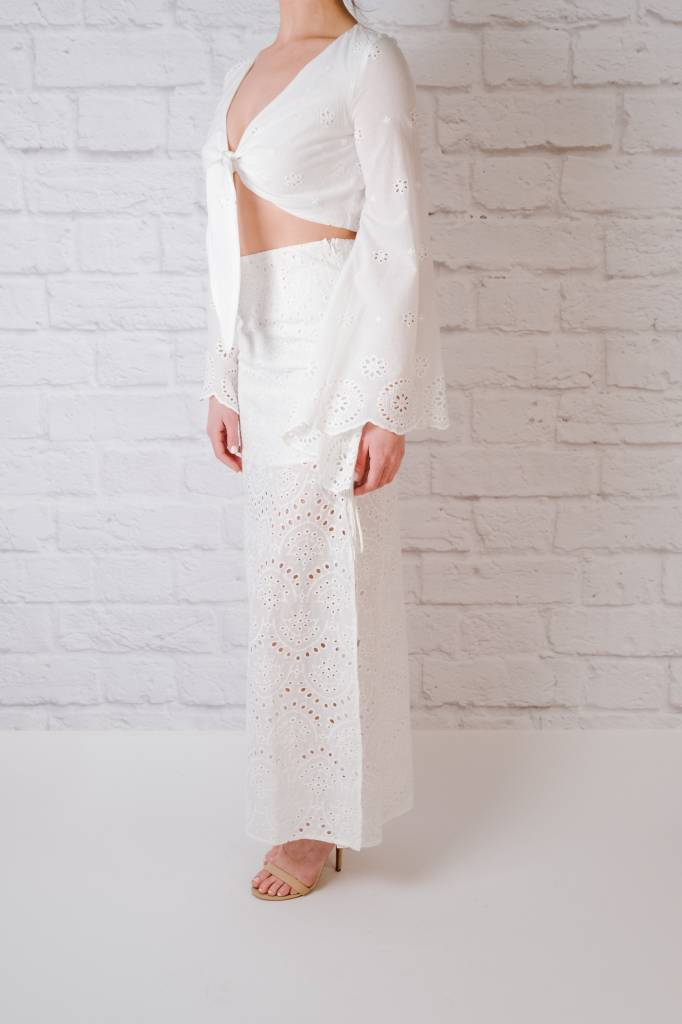 Crop White Crochet Crop