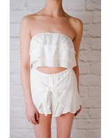 Crop White layered tube top