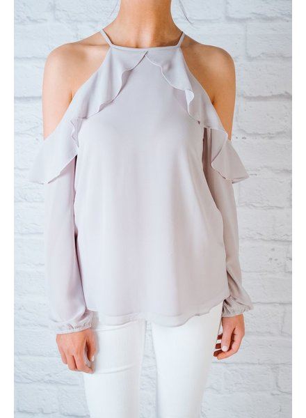 Blouse Silver ruffled cold shoulder