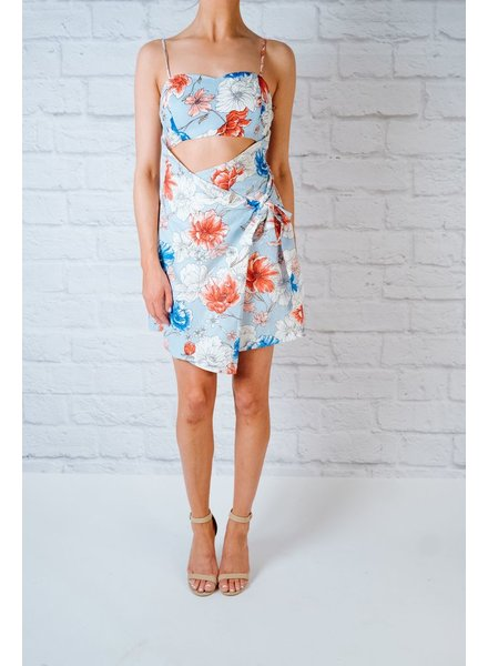 Mini Floral Cut-Out Wrap Dress