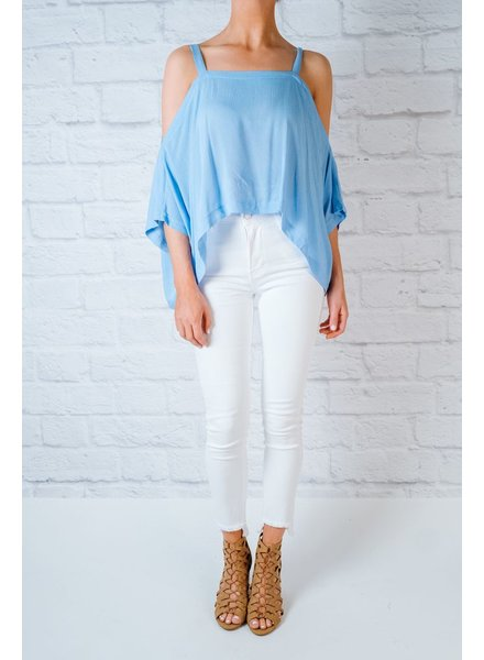 Blouse Blue rayon cold shoulder