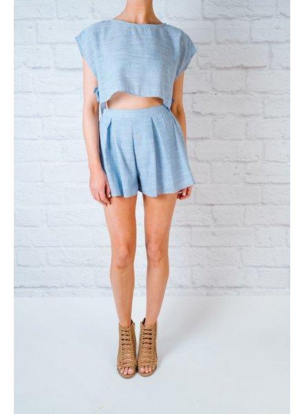 Short Blue Linen Shorts