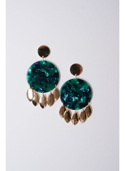 Trend Kelly green resin and gold disks