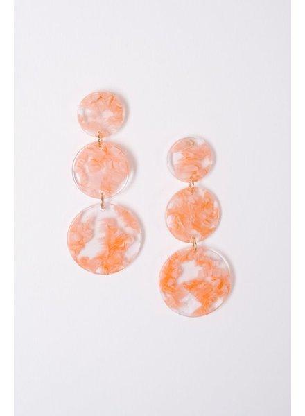 Trend Pink marbled triple disk earrings