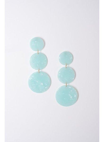 Trend Mint marbled triple disk earrings