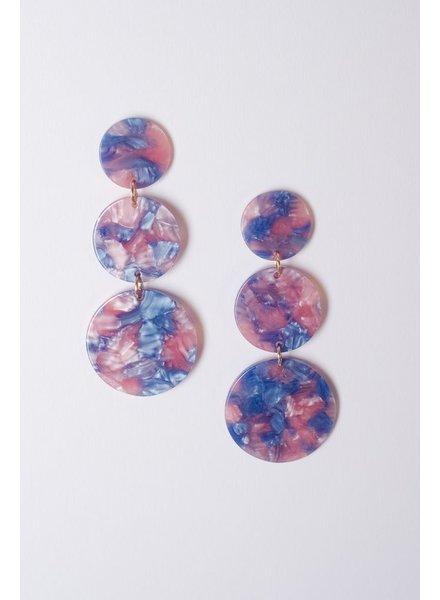 Trend Blue marbled triple disk earrings