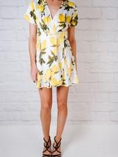 Mini Lemon Wrap Dress