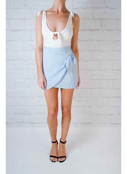 Skirt Sky Blue Frayed Skirt