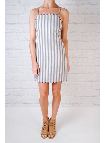 Mini Striped Fray Hem Dress