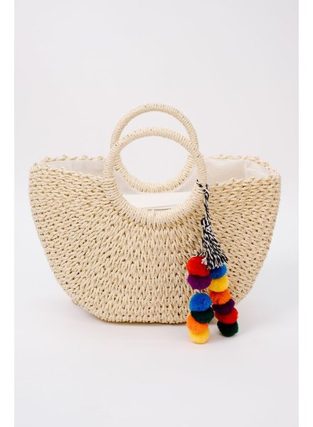 Handbag Pompom detail handbag