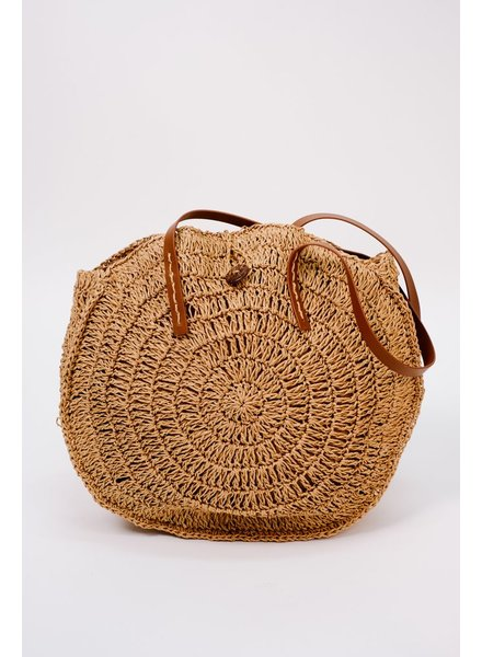 Handbag Dark woven circle bag