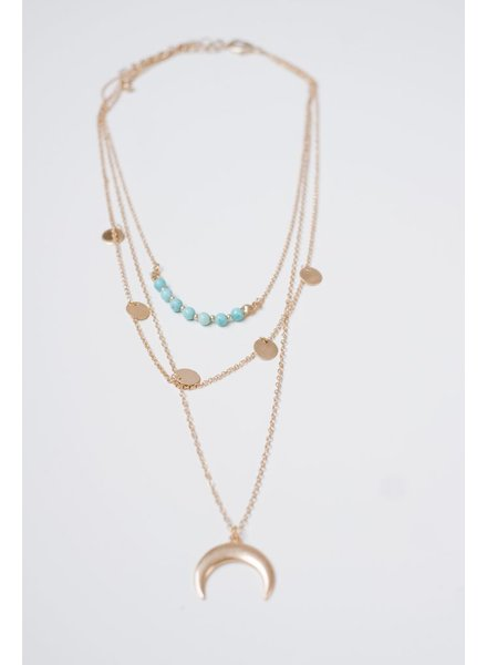 Gold Turquoise Layered Cresent