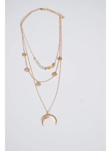 Gold Layered Cresent Necklace