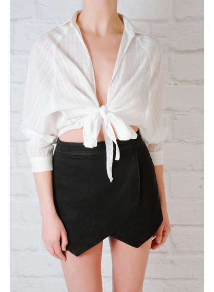 Blouse Tie Front Cropped Blouse