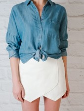Blouse Denim knot bottom blouse