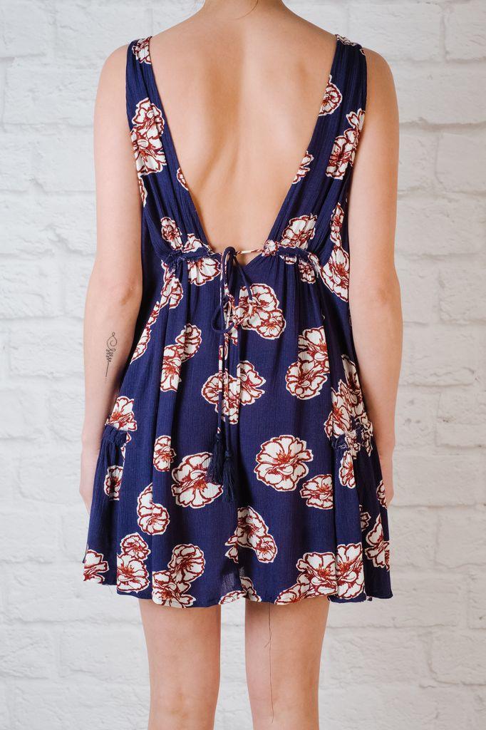 Mini Navy floral babydoll dress