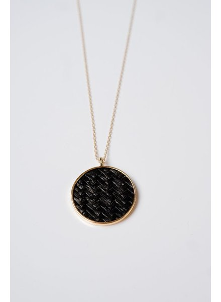 Long Black woven pendant