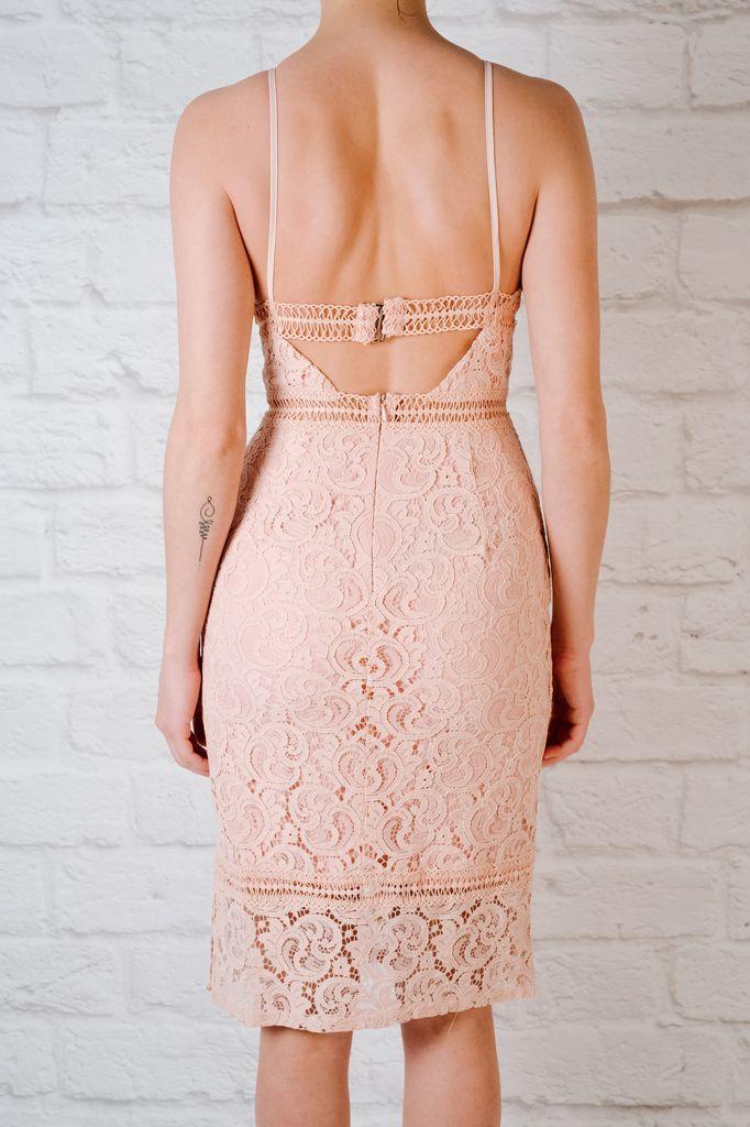 Midi Pink lace strap midi